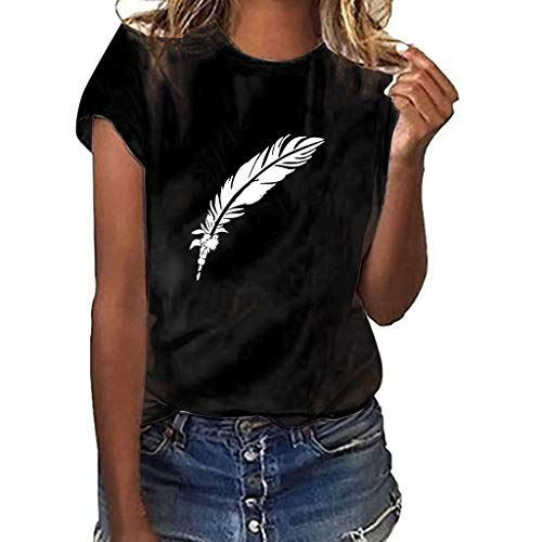 Sharemen Summer Women T Shirt Street Style Feathers Printed Short Sleeve T-Shirt Casual Loose Lady Tops Juniors Tees(Black,2XL)