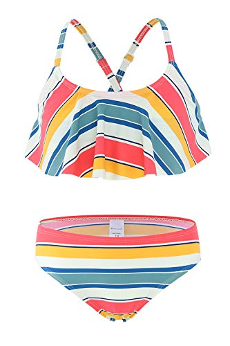 Big Girls Two Piece Bikini Swimsuits Striped Ruffle Swimwear Flounce Bathing Suit Set 12T