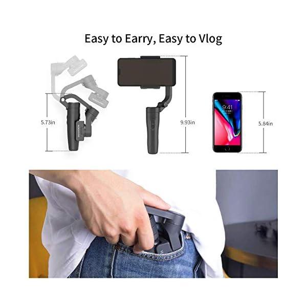 FeiyuTech VLOGpocket a 3 assi - Stabilizzatore portatile per Smartphone IPhone Sumsung Huawei XiaoMi con mini treppiede - Scuro 2 spesavip