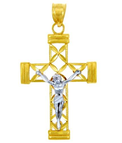 10 ct 471/1000 Deux Ton Or Croix- Pendentif