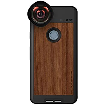 Pixel 2 Case with Wide Lens Kit    Moment Walnut Wood Photo Case plus Wide Lens    Best google wide attachment lens with thin protective case.