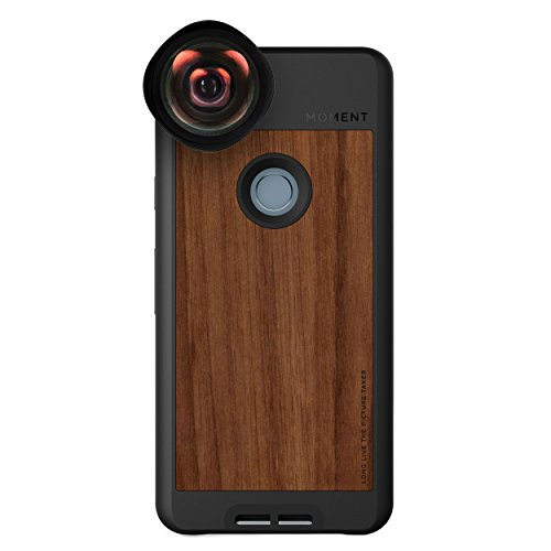 Pixel 2 Case with Wide Lens Kit || Moment Walnut Wood Photo Case plus Wide Lens || Best google wide attachment lens with thin protective case. by Moment