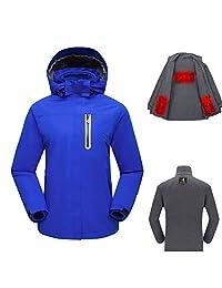 Kingwolfox 3 PCS Women's Outdoor USB Heated Jacket Set with Heating Inner Jacket