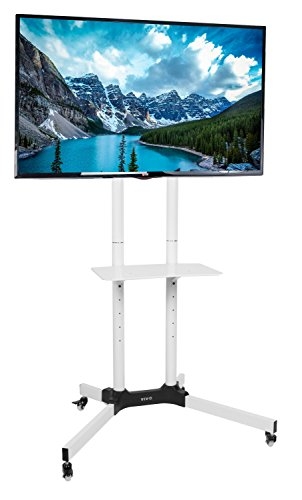 VIVO White Mobile TV Cart for LCD LED Plasma Flat Panels Stand with Wheels | fits 32