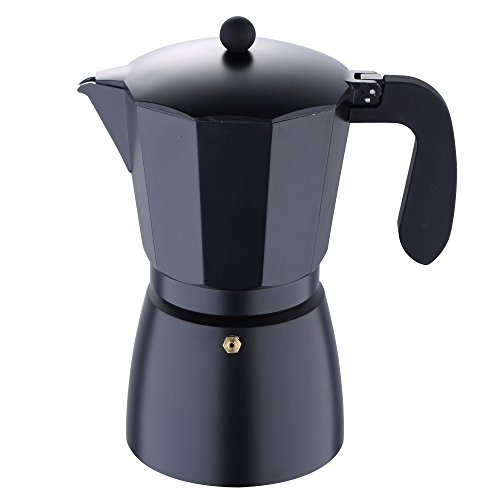 (San Ignacio by Bergner Home 12 Cup Stove Top Espresso Coffee Maker Aluminum Full Induction Black)