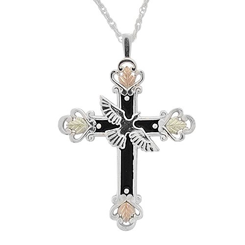 Antiqued Black Hills Cross Pendant in Silver with 12k Gold Accents (Antiqued Accents Gold)