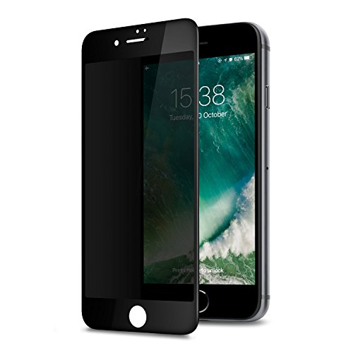 GLASS-M Privacy Screen Protector for iPhone 6s Plus/iPhone 6 Plus, Anti-spy Edge to Edge Full Cover Tempered Glass, Anti-Fingerprint 9H Hardness Case Friendly Premium Protection Shield - Black -
