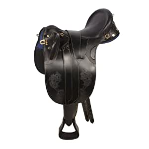 "New Oil Outback Leather Australian Aussie Stock Saddle Package (Black, 20"")"