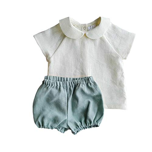 Infant Toddler Baby Girls Cotton Linen Clothes Set BlouseTops and Bloomers Flax Shorts for Summer Outfit (White, 18-24M)