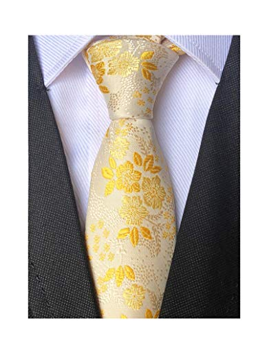 - Mens Skinny Novelty Small Floral Cravat Ties Luxury Pattern Wedding Self Necktie (One Size, Champagne Gold)
