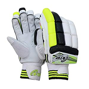 B-TUF Fire-Up Calf Leather Cricket Batting Gloves Right (RH) & Left (LH) Hand for Men – Neon Green/Black/White