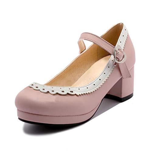rosa Patchwork Calzado de 1 Oficina Diario corazón Gruesas tacón Hebilla Zapatos Alto Bombas Mujeres Tacones señoras Bowknot ZAaTqOF1