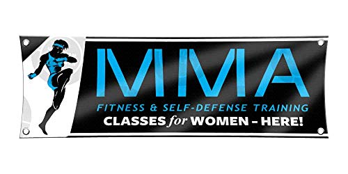 MMA Fitness & Self-Defense Training Banner (1ft X 3ft) Blue Classes for Women Poster Registration Enrollment Display