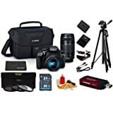 Canon EOS Rebel T6 DSLR CAMERA with EF-S 18-55mm + EF 75-300mm III Lens + 32GB Memory Card + Tripod + 3 Piece Filter Kit + Multi Card Reader + Cleaning Deluxe Care Accessory Bundle