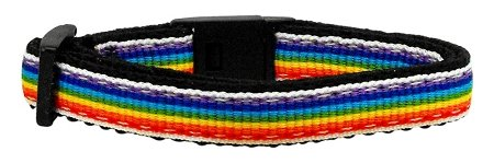 Nylon Bandana Pet Collar - Mirage Pet Products Rainbow Striped Nylon Collars, Cat Safety