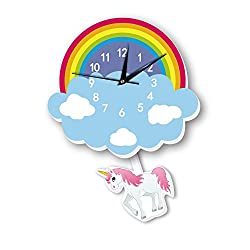 DPIST Unicorn Kids Wall Clock, Large Home Decorative Silent Non Ticking Quality Quartz Battery Operated Wall Clock-3D Easy to Read Bedroom/Living room/Office/School Clock