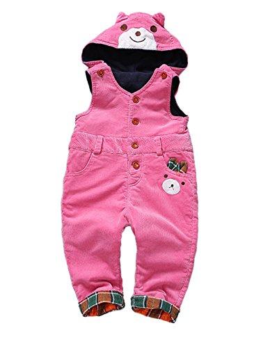 Kidscool Baby Winter Corduroy Adjustable Soft Fleece Bear Hooded Overall