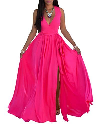 (SheKiss Womens Sexy V-Neck Chiffon Long Maxi Dresses Sleeveless Split Beach Bridesmaid Flowy Sundress Rose)