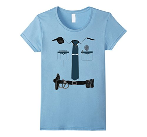 [Women's Police Cop Uniform Boys and Girls Halloween Costume T-Shirt XL Baby Blue] (Cop Costumes Tshirt)