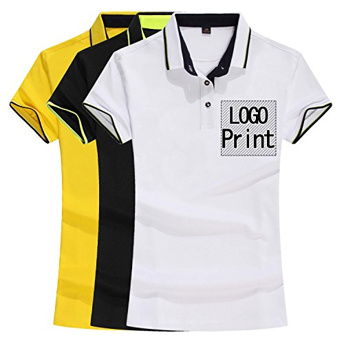 (Personalized Custom Polo Shirt Group Activity Uniform Add Your Design Novelty Short Sleeve Unisex Tee (Woman/M, Woman Yellow) )