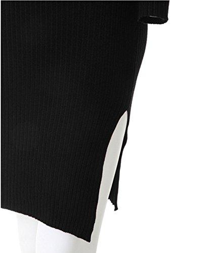 Mujer De Manga Larga De La Cadera De Espesor Delgado De Punto De Vestir Paquete Apretado Black
