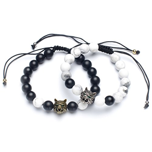 Karseer Yin Yang Matching Distance Bracelet Retro Viking Wolf Charms Black Matte Onyx and White Howlite 8mm Stone Beads Friendship Relations Anxiety Relief Bracelet Set for Guys Couples His and ()
