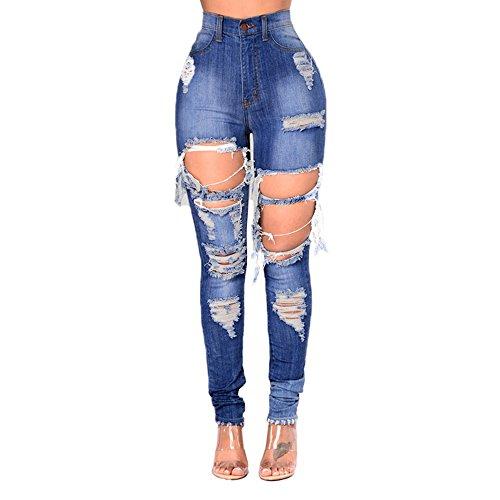 Hole NEW XXL Color Fashion Pantalon Jeans Blue Size Blue Pop Jeans Femme Jeans rwx8PqrY