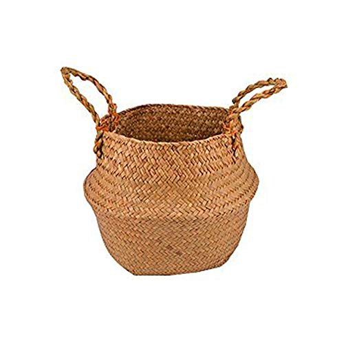 Natural Seagrass Belly Basket Panier Storage Plant Pot Collapsible Nursery Laundry Tote Bag with Handles (14