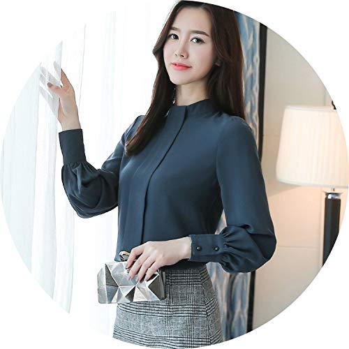 Secret-shop New 2019 Long Sleeve Women Blouses Shirt Fashion Casual Chiffon OL Blouse,Blue,S]()
