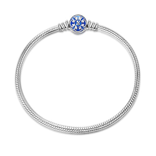NinaQueen 925 Sterling Silver Snake Chain Bracelet with Blue Clasp Charms Endearing Gifts For Her