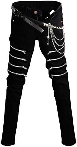 HENGAO Men's Punk Denim Jeans Pants Trousers with Fashion Chains Black