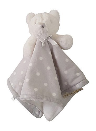 Blankets & Beyond Bear White with Gray Polka Dot Blanket Nunu by Blankets and (Silky Bear)