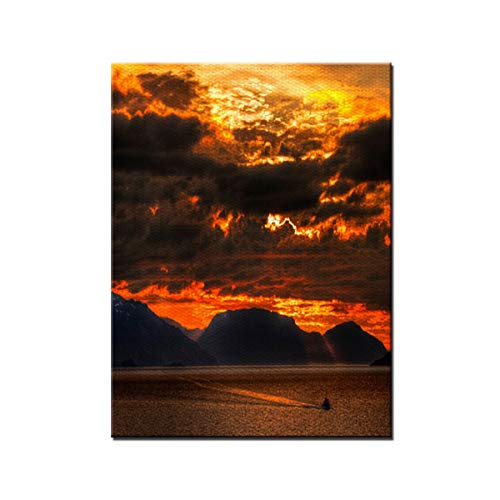 (NEAER Volcanic Sunset Clouds Oil Paintings Wall Art Waves Painting on Canvas Stretched and Framed Canvas Paintings Ready to Hang for Home Decorations Wall Decor)