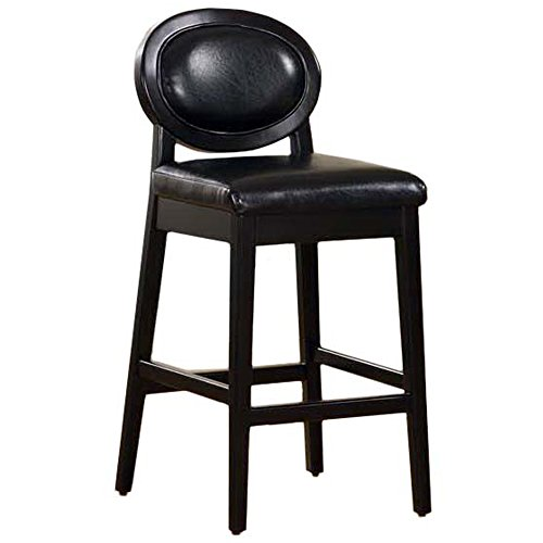 Armen Living 7015 Martini 26-Inch Stationary Barstool, Jet Black Leather with Black Legs ()