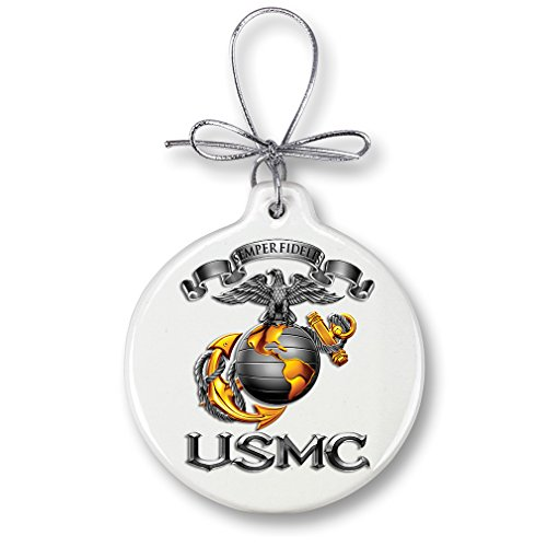 Marine Corps Ribbon (Marine Christmas Ornaments – SEMPER FIDELIS - Stone Military Gifts for Men or Women – Patriotic Ornaments with a Silver Ribbon – Xmas Ornaments (1 Piece))