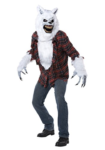 Lycan Costumes (California Costumes Men's White Lycan Vampire Werewolf Full Fur Costume, White/Red, Large/X-Large)