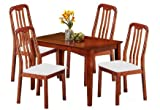 Solid Wood Cherry Finish Dining Set - Table & 4 Chairs