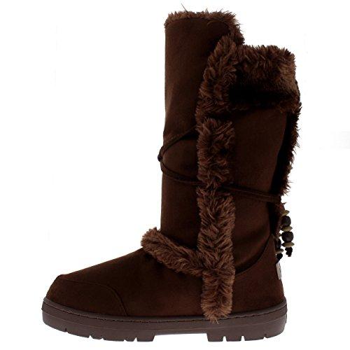 Hulst Dames Namaakbont Gevoerd Hoog Geparelde Waterdichte Winter Regen Snowboots Bruin
