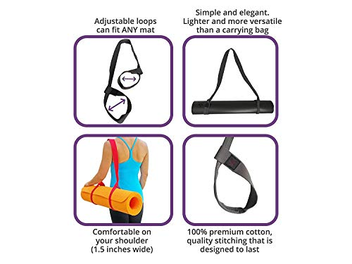 """Clever Yoga Yoga Mat Strap Sling – Adjustable Durable Cotton Yoga Mat Carrier – Carrying Strap in Standard (66"""") or Extra Long (85"""") for Thick Yoga Mat - Doubles As Yoga Strap for Stretching – from"""