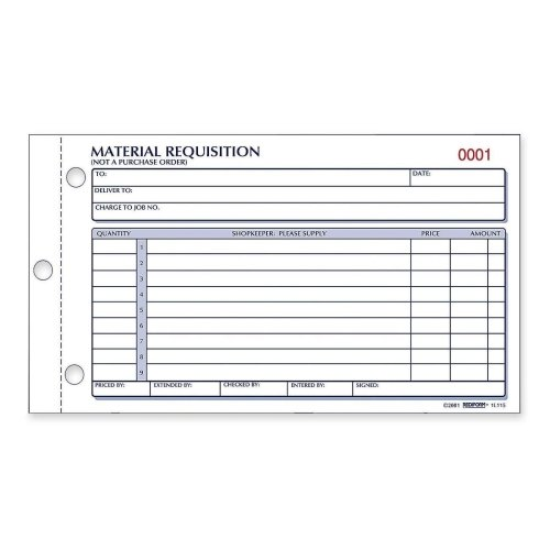 Rediform 1L114 Material Requisition Book 4 1/4 x 7 7/8 Two-Part Carbonless 50-Set Book (Material Requisition Book)
