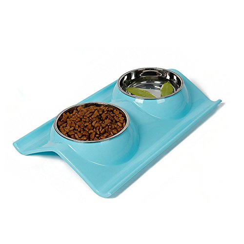 Dog Bowls Elevated Dog Cat Bowls Double Premium Stainless Steel Pet Bowls with No-Spill Resin Station Pet Food Water Feeder (sky blue)