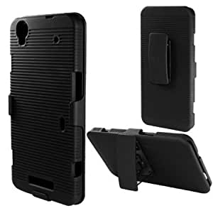 Bloutina Rubberized Plastic Black Hard Cover Snap On Case W/ Belt Clip Holster Stand For ZTE Boost MAX N9520 (Accessorys4Less...