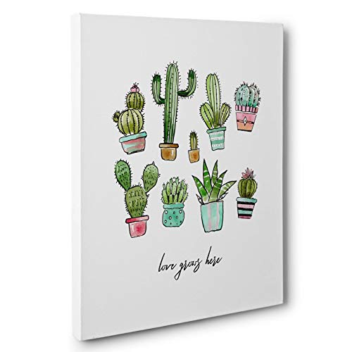 Love Grows Here Cactus Canvas Wall Art
