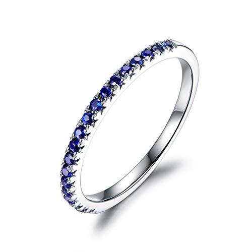 14k Real Solid Gold Genuine Natural Blue Sapphire Half Thin Eternity Wedding Band Engagement Guard Ring Fine Jewelry Gifts for Women Girls Wife Girlfriend (blue-sapphire, 7)