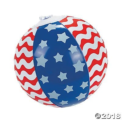 J & L Supply 24 Stars and Stripes Mini Inflatable Beach Balls~Patriotic~4th. of July~Independence Day~Memorial Day