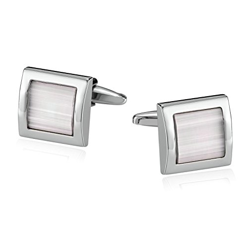 Mens Cufflinks Stainless Steel Square Pearl Sbright Stone White Shirt 1.6X1.6CM Xmas Gift Box Aooaz