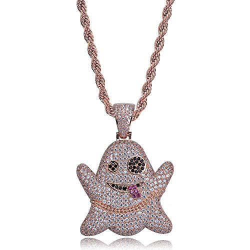 (TOPGRILLZ Iced Out CZ Cluster Lab Diamond Emoji Ghost Pendant 24