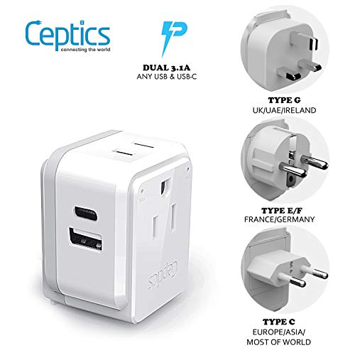 European Power Plug Adapter Travel Set by Ceptics, Safe Dual USB & USB-C – 2 USA Socket – Compact & Powerful – Use in…