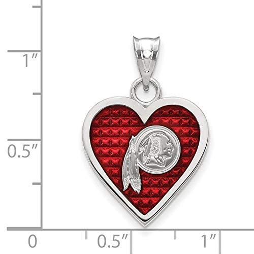 Q Gold NFL Sterling Silver Washington Redskins Enameled Heart Pendant ()