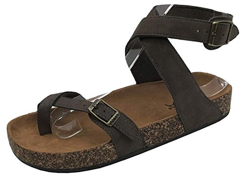 (Womens Slip On Ankle Wrap Cork Sole Slide Sandal with Buckle, Brown PU, 8.5)